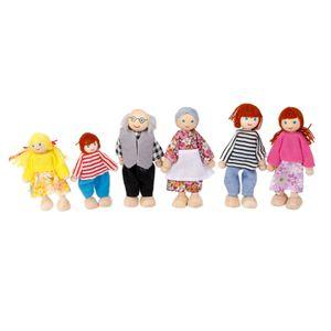 Holzpuppen Familie Puppenhaus Spielzeug Puppen für Kinder Spiel Haus Geschenk