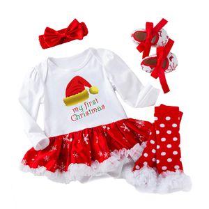 Baby 4 STÜCKE Mädchen Weihnachten Kleid+Socken+Stirnband+Schuhe Babykleider,Farbe:Weihnachtsmütze,Größe:59(0-3M)