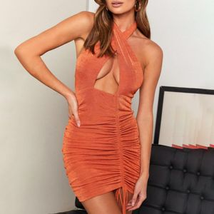 Cross Neck Schlankes Kleid Tankkleid Plissee Elastisch Enger Mini Rucksack HipDress Größe:XXXL,Farbe:Orange