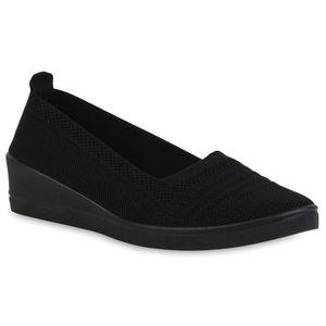 Giralin Damen Keilslippers Keilabsatz Slippers Strick Schlupf-Schuhe 836603, Farbe: Schwarz, Größe: 40