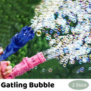 2 Stück Gatling bubble machine, 8-Loch-Seifenblasenmaschinen mit großer Kapazität, Automatische seifenblasenpistole, Seifenblasenpistole elektrisch, Kinder sommerliche Outdoor-Aktivitäten, Rot und Blau