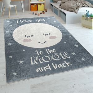 Kinderteppich Kinderzimmer Mädchen Waschbar Sterne Niedlicher Mond Spruch Grau, Grösse:80x150 cm