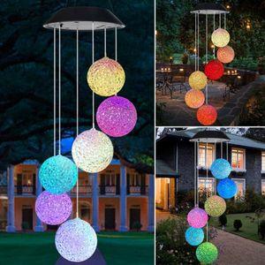 LED Solar Windspiel - inkl 6 Kugeln mit Farbwechsel - Gartendeko Solarleuchte Garten Terrasse NA