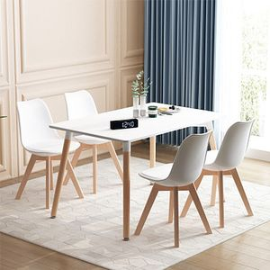 WYCTIN Essgruppe Esstisch mit 4 Stühlen Weiß 110*60*75cm MDF Küchentisch  Weiß