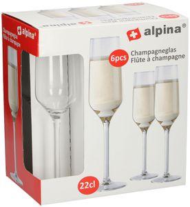 Alpina 6 teiliges Sektgläser Set, 220 ml, klar