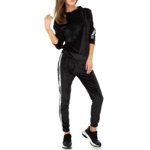 Ital-Design Damen Jumpsuits & Zweiteiler Jogging- & Freizeitanzüge Schwarz Gr.m/L