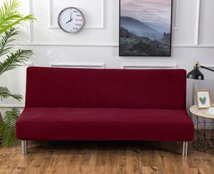 Sofa-Bezug, Stretch-Sofa-Bettbezug , Anti-Rutsch-Schutz für Couch ohne Armlehnen, Elasthan-Jacquard-Stoffbezug Futonbezug, weinrot