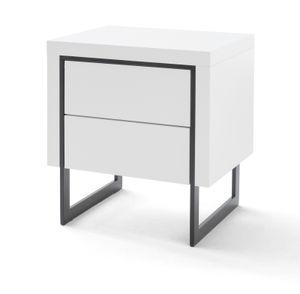Nachttisch Cooper in Hochglanz weiß lackiert mit schwarz Nachtkommode mit 2 x Schubkasten 50 x 40 cm