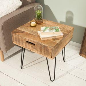 Retro Beistelltisch SCORPION 50cm Mangoholz Hairpin Legs mit Schublade Wohnzimmertisch Couchtisch Sofatisch Nachttisch