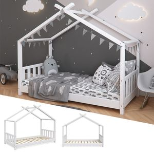 VitaliSpa Kinderbett Hausbett DESIGN 80x160cm Weiß Kinder Holz Haus Hausbett