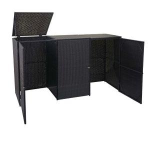 3er-Mülltonnenverkleidung HWC-E25, Mülltonnenbox Mülltonnenabdeckung, Poly-Rattan 3x120l  schwarz