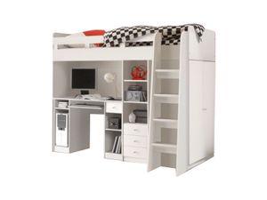 Hochbett Enri 90*200 cm Weiß mit Frehtürenschrank und Schreibtisch Regal Kinderzimmer Spielbett Kinderbett