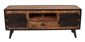 SIT Möbel Lowboard   2 Türen, 1 Schublade, 1 offenes Fach   Mangoholz burnt oak-color   Altmetall antikschwarz   B 140 x T 40 x H 55 cm   07815-04   Serie IRON