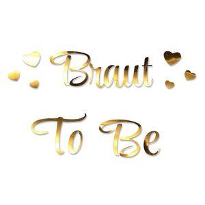 Oblique Unique Bügelbild Braut To Be + Herzen für JGA Junggesellinnenabschied Hochzeit - gold