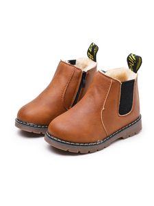 Kinder Jungen Und Mädchen Einfarbige Stiefeletten Kurze Lederschuhe Martin Stiefel,Farbe: Braun Plus Samt,Größe:28