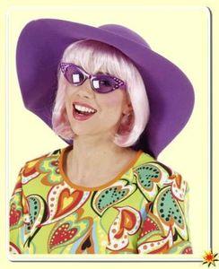 Schlapphut zum Hippie Kostüm Karneval Fasching Sommerparty lila
