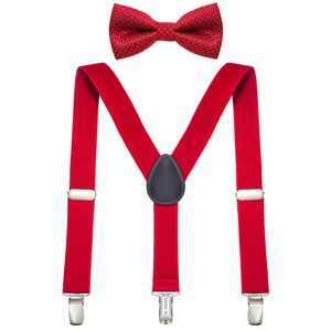 DonDon Jungen Hosenträger Fliegen Set rot elastisch und längenverstellbar für Kinder von 1 - 8 Jahre