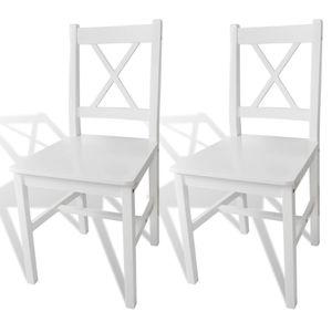 vidaXL Esszimmerstühle 2 Stk. Weiß Kiefernholz