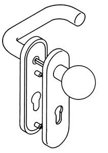 Hewi kurzschild-Drückergarnitur 111R / 123.23R / 230...R E72 PZ Vierkant 8mm TS38,1-48mm reinweiß - 111R03.113 99