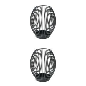 2 Pcs Metalldraht Kerzenhalter Oval Korb Kerzenständer Teelichthalter Schwarz S+M