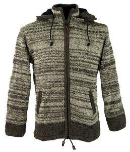Strickjacke Wolljacke Nepaljacke - Modell 17, Damen, Braun, Wolle, Größe: M