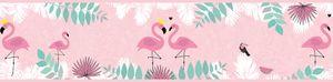 Lovely Kids selbstklebende Kinderzimmer Bordüre Flamingo Love rosa grün weiß 5,00 m x 0,155 m