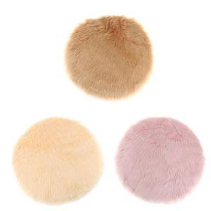 Rundteppich Kunstfell Weiche Künstliche Schaffell Teppich Bettvorleger Sofa Matte, Braun + Beige + Rosa