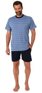 Lässiger Herren kurzarm Shorty Pyjama Schlafanzug in Streifenoptik - auch in Übergrössen, Farbe:marine, Größe:54