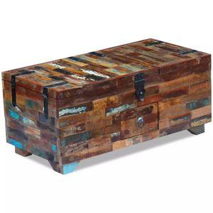 Couchtisch Truhe recyceltes Massivholz 80x40x35 cm