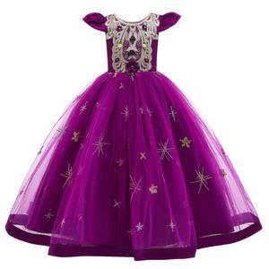Mädchen Brautjungfer Kleider Blumenmädchen Hochzeitskleid Kommunionskleid Maxi Lange Prinzessinkleid Partykleid Geburtstagstag Abendkleid, Lila, 110cm