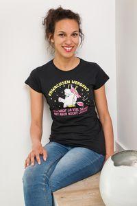 Einhorn Girlie Shirt Erwachsen werden... S