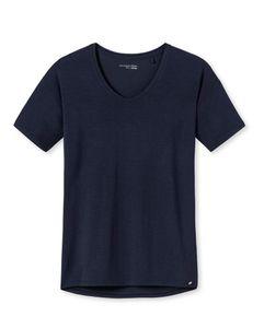 Schiesser Damen Schlafanzugoberteil Shirt V-Ausschnitt 1/2 Arm - 165664, Größe Damen:38, Farbe:nachtblau