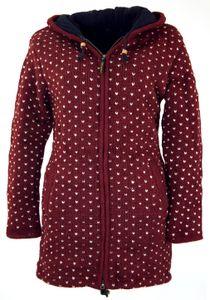 Lange Strickjacke, Warme Wolljacke, Nepal Jacke - Bordeauxrot, Damen, Wolle, Größe: XL