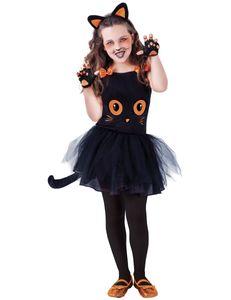 Süsses Katzen-Kostüm für Mädchen Halloweenkostüm schwarz-orange