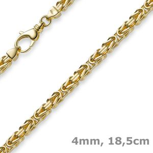 4mm Armband Armkette Königskette aus 585 Gold Gelbgold 18,5cm Herren