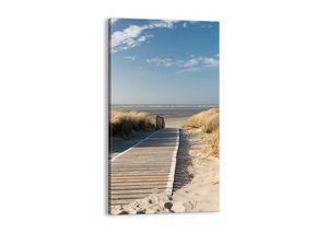 "Leinwandbild - 45x80 cm - ""Hinter der Düne, im Rascheln des Grases""- Wandbilder - Meer Strand Düne - Arttor - PA45x80-2657"