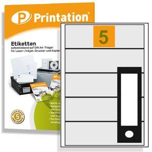 Ordnerrücken Etiketten 190 x 58 mm selbstklebend weiß 500 Ordneretiketten auf 100 DIN A4 Bogen 1x5 Labels 190x58