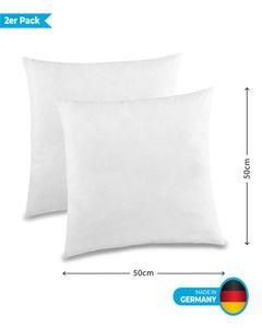 Kuscheli® 2er Pack Kopfkissen Kissen Couchkissen Federkissen Dekokissen Sofakissen in Weiß gefüttert mit Federn , Größe:60 x 60 cm