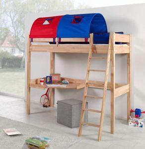 Hochbett RENATE Multifunktionsbett mit Schreibtisch Bett Buche Stoffset Blau/Rot
