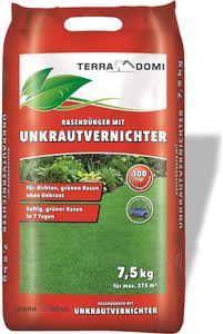 TerraDomi Unkrautvernichter + Rasendünger, für Ihren Rasen und Garten, 7,5 KG NPK, zweifache Wirkung, auch gegen Klee, Sommer, Herbst, Frühling, 375m²