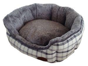 "Nobby Komfort Bett oval ""CHECKER"" - hellgrau - L x B x H: 86 x 70 x 24 cm; 60697"