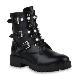 Mytrendshoe Damen Stiefeletten Stiefel Plateau Boots Zierperlen Nieten Schuhe 820482, Farbe: Schwarz, Größe: 39