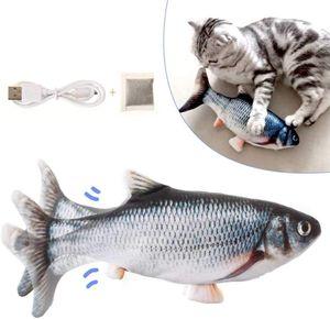 Katzenspielzeug Fisch, Katzenminze elektrische Puppe Fisch, Simulation Elektrisch Spielzeug Fisch mit USB Charge, Interaktives Spielzeug für Haustiere (Schwarz)