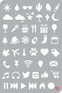 "Bullet Journal Schablone ""Icons"", Format 12 x 18 cm"
