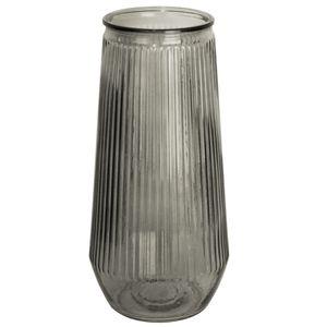 Glasvase hoch Ø14x30cm geriffelt, transparent in 4 Farben, Farbe:Grau