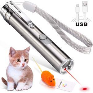 Laserpointer für Katzen USB wiederaufladbar, Cat Dog Interactive Lazer Toy, Heimtier-Übungs-Chaser-Tool, 3-Modus,Taschenlampen
