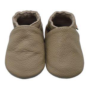 Weiche Yalion Baby Krabbelschuhe Lauflernschuhe Lederpuschen aus echtem Leder Einfarbig Taupe (M, 6-12 M, EU 20-21)