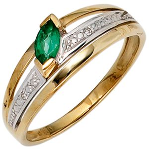 JOBO Damen Ring 585 Gold Gelbgold teilrhodiniert 2 Diamanten 0,01ct. 1 Smaragd grün Größe 60
