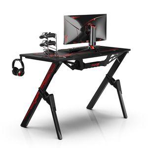 Dripex Gaming Tisch, Schreibtisch Gaming, Kohlefaser-Desktop, mit Getränke-, Gamepad- und Kopfhörerhalter, 110x75x55cm
