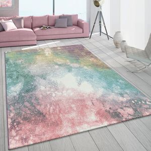 Teppich Wohnzimmer Bunt Rosa Grün Türkis Pastell Farbverlauf Robust Kurzflor, Grösse:160x230 cm